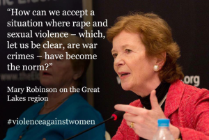 Ireland's Mary Robinson lends her support to One Billion Rising.