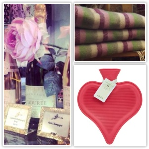 Champagne from Brown Thomas, Blankets from Avoca Handweavers and Hot Water Bottle from Dunnes Stores.