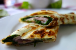 Ham, Cheese and Spinach Pancake