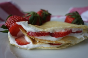 Strawberries with Fresh Whipped Cream Pancakes
