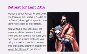 Sacred Space Retreat for Lent 2014