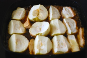 Step four: add the apples rounded side down and bake for 20 minutes.