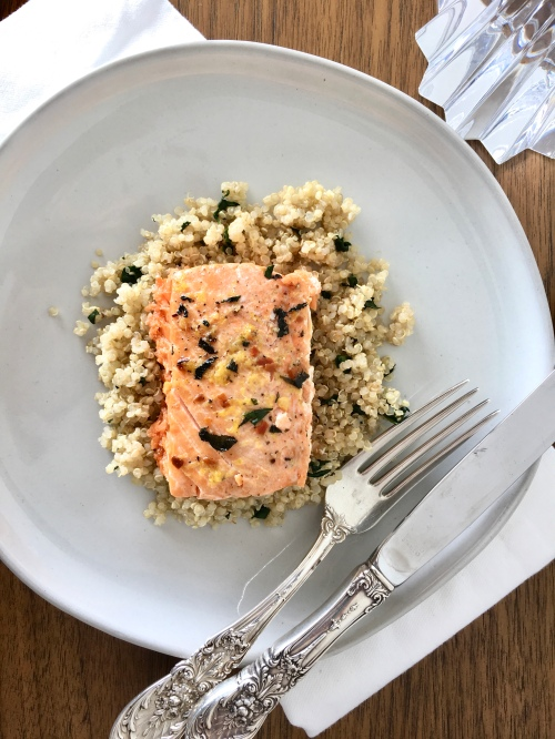 Irish salmon on a bed of quinoa and chopped kale