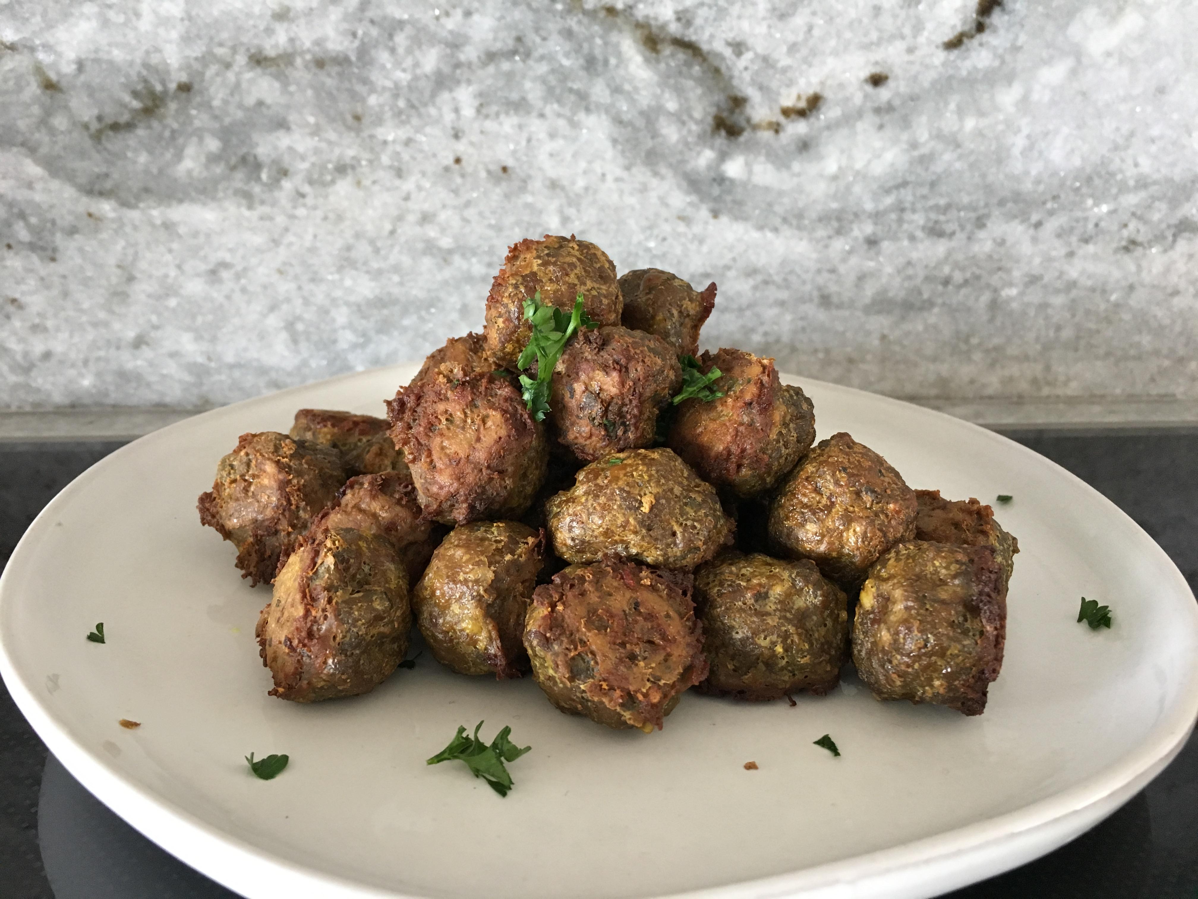 Freshly made Sheet Pan Turmeric Meatballs